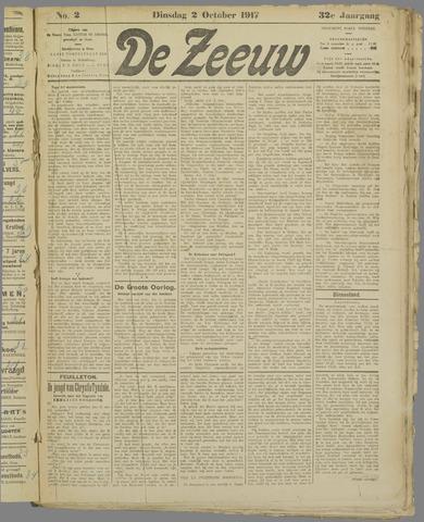 De Zeeuw. Christelijk-historisch nieuwsblad voor Zeeland 1917-10-02