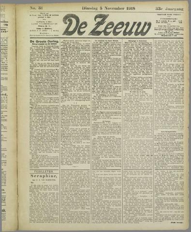 De Zeeuw. Christelijk-historisch nieuwsblad voor Zeeland 1918-11-05