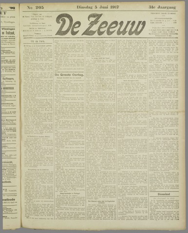 De Zeeuw. Christelijk-historisch nieuwsblad voor Zeeland 1917-06-05