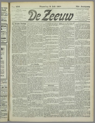 De Zeeuw. Christelijk-historisch nieuwsblad voor Zeeland 1918-07-08