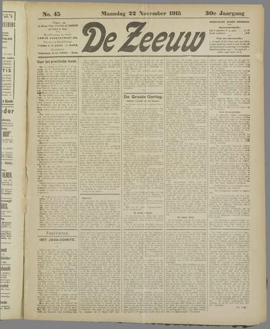 De Zeeuw. Christelijk-historisch nieuwsblad voor Zeeland 1915-11-22