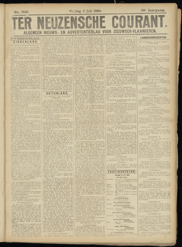 Ter Neuzensche Courant. Algemeen Nieuws- en Advertentieblad voor Zeeuwsch-Vlaanderen / Neuzensche Courant ... (idem) / (Algemeen) nieuws en advertentieblad voor Zeeuwsch-Vlaanderen 1924-07-11