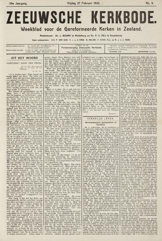 Zeeuwsche kerkbode, weekblad gewijd aan de belangen der gereformeerde kerken/ Zeeuwsch kerkblad 1925-02-27