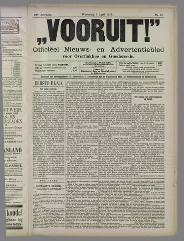 """""""Vooruit!""""Officieel Nieuws- en Advertentieblad voor Overflakkee en Goedereede 1913-04-09"""