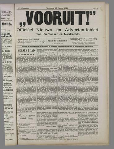 """""""Vooruit!""""Officieel Nieuws- en Advertentieblad voor Overflakkee en Goedereede 1912-01-17"""