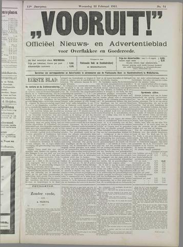 """""""Vooruit!""""Officieel Nieuws- en Advertentieblad voor Overflakkee en Goedereede 1911-02-22"""