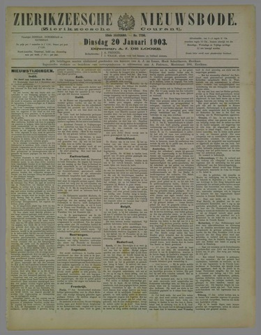 Zierikzeesche Nieuwsbode 1903-01-20