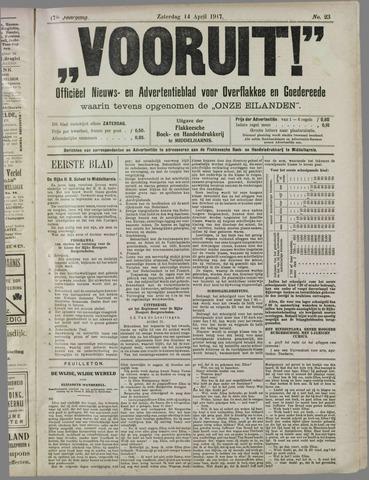 """""""Vooruit!""""Officieel Nieuws- en Advertentieblad voor Overflakkee en Goedereede 1917-04-14"""