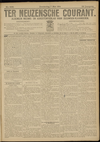 Ter Neuzensche Courant. Algemeen Nieuws- en Advertentieblad voor Zeeuwsch-Vlaanderen / Neuzensche Courant ... (idem) / (Algemeen) nieuws en advertentieblad voor Zeeuwsch-Vlaanderen 1914-05-07