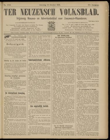 Ter Neuzensch Volksblad. Vrijzinnig nieuws- en advertentieblad voor Zeeuwsch- Vlaanderen / Zeeuwsch Nieuwsblad. Nieuws- en advertentieblad voor Zeeland 1916-10-21