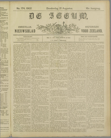 De Zeeuw. Christelijk-historisch nieuwsblad voor Zeeland 1902-08-21