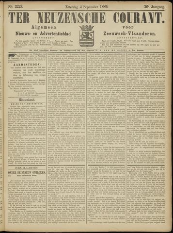 Ter Neuzensche Courant. Algemeen Nieuws- en Advertentieblad voor Zeeuwsch-Vlaanderen / Neuzensche Courant ... (idem) / (Algemeen) nieuws en advertentieblad voor Zeeuwsch-Vlaanderen 1886-09-04