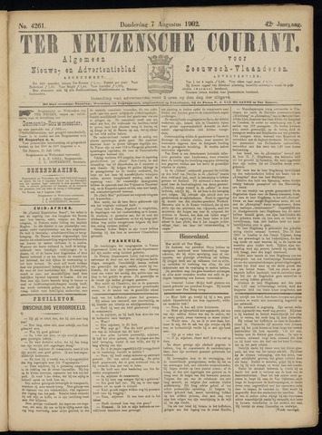 Ter Neuzensche Courant. Algemeen Nieuws- en Advertentieblad voor Zeeuwsch-Vlaanderen / Neuzensche Courant ... (idem) / (Algemeen) nieuws en advertentieblad voor Zeeuwsch-Vlaanderen 1902-08-07
