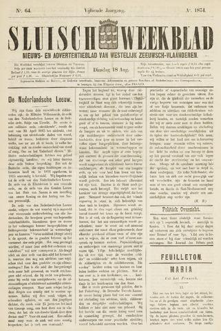 Sluisch Weekblad. Nieuws- en advertentieblad voor Westelijk Zeeuwsch-Vlaanderen 1874-08-18