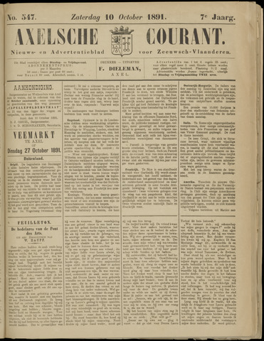 Axelsche Courant 1891-10-10