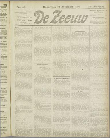 De Zeeuw. Christelijk-historisch nieuwsblad voor Zeeland 1916-11-16