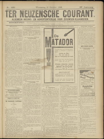 Ter Neuzensche Courant. Algemeen Nieuws- en Advertentieblad voor Zeeuwsch-Vlaanderen / Neuzensche Courant ... (idem) / (Algemeen) nieuws en advertentieblad voor Zeeuwsch-Vlaanderen 1928-10-10