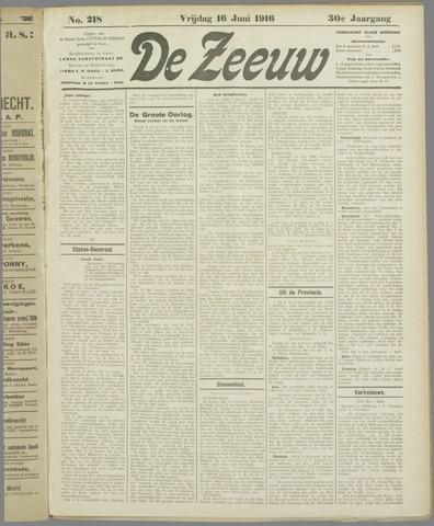 De Zeeuw. Christelijk-historisch nieuwsblad voor Zeeland 1916-06-16