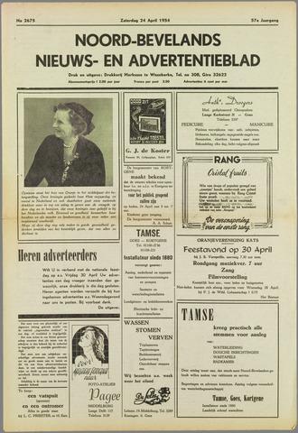 Noord-Bevelands Nieuws- en advertentieblad 1954-04-24