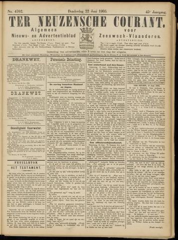 Ter Neuzensche Courant. Algemeen Nieuws- en Advertentieblad voor Zeeuwsch-Vlaanderen / Neuzensche Courant ... (idem) / (Algemeen) nieuws en advertentieblad voor Zeeuwsch-Vlaanderen 1905-06-22