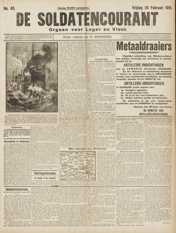 De Soldatencourant. Orgaan voor Leger en Vloot 1915-02-26