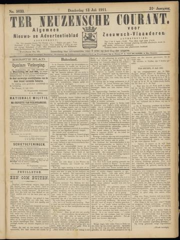 Ter Neuzensche Courant. Algemeen Nieuws- en Advertentieblad voor Zeeuwsch-Vlaanderen / Neuzensche Courant ... (idem) / (Algemeen) nieuws en advertentieblad voor Zeeuwsch-Vlaanderen 1911-07-13