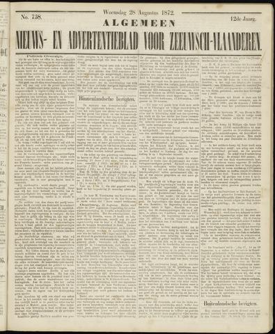 Ter Neuzensche Courant. Algemeen Nieuws- en Advertentieblad voor Zeeuwsch-Vlaanderen / Neuzensche Courant ... (idem) / (Algemeen) nieuws en advertentieblad voor Zeeuwsch-Vlaanderen 1872-08-28