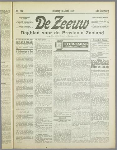 De Zeeuw. Christelijk-historisch nieuwsblad voor Zeeland 1929-06-18