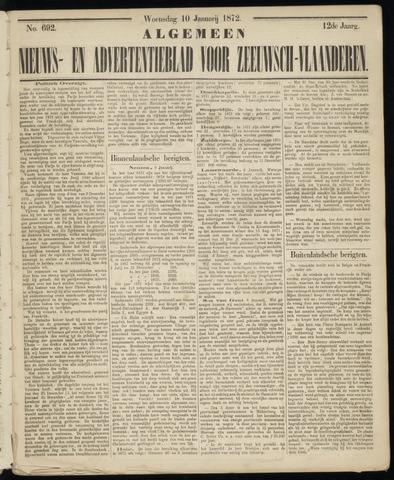 Ter Neuzensche Courant. Algemeen Nieuws- en Advertentieblad voor Zeeuwsch-Vlaanderen / Neuzensche Courant ... (idem) / (Algemeen) nieuws en advertentieblad voor Zeeuwsch-Vlaanderen 1872-01-10