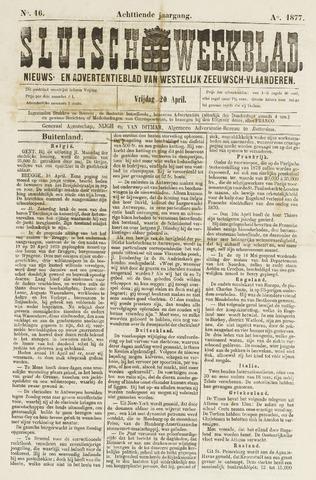Sluisch Weekblad. Nieuws- en advertentieblad voor Westelijk Zeeuwsch-Vlaanderen 1877-04-20