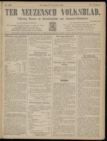 Ter Neuzensch Volksblad. Vrijzinnig nieuws- en advertentieblad voor Zeeuwsch- Vlaanderen / Zeeuwsch Nieuwsblad. Nieuws- en advertentieblad voor Zeeland 1917-11-28