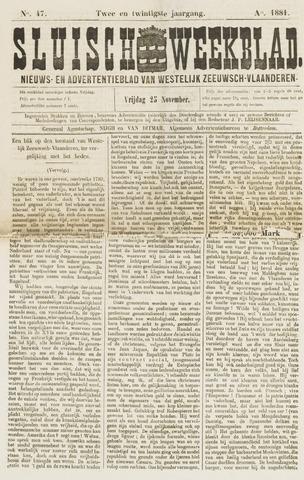 Sluisch Weekblad. Nieuws- en advertentieblad voor Westelijk Zeeuwsch-Vlaanderen 1881-11-23