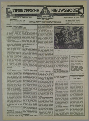 Zierikzeesche Nieuwsbode 1942-02-03