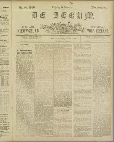 De Zeeuw. Christelijk-historisch nieuwsblad voor Zeeland 1906-02-09