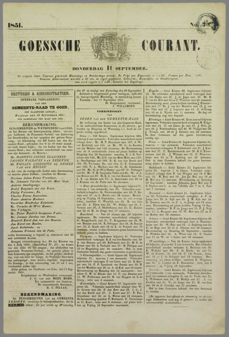 Goessche Courant 1851-09-11