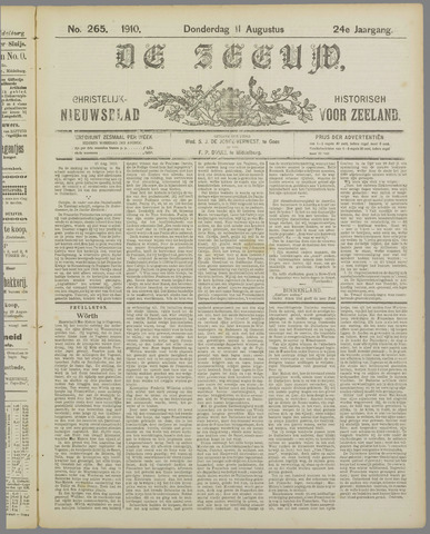 De Zeeuw. Christelijk-historisch nieuwsblad voor Zeeland 1910-08-11