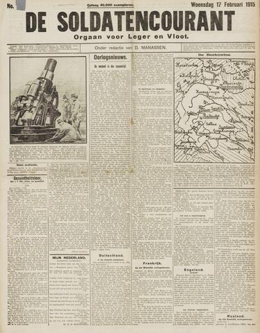 De Soldatencourant. Orgaan voor Leger en Vloot 1915-02-17