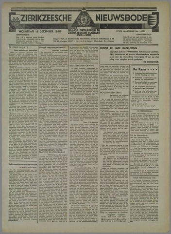 Zierikzeesche Nieuwsbode 1940-12-18