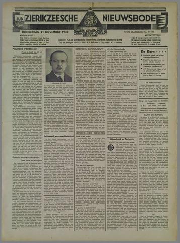 Zierikzeesche Nieuwsbode 1940-11-21
