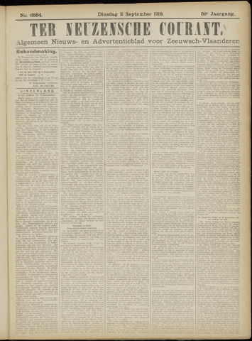 Ter Neuzensche Courant. Algemeen Nieuws- en Advertentieblad voor Zeeuwsch-Vlaanderen / Neuzensche Courant ... (idem) / (Algemeen) nieuws en advertentieblad voor Zeeuwsch-Vlaanderen 1919-09-02