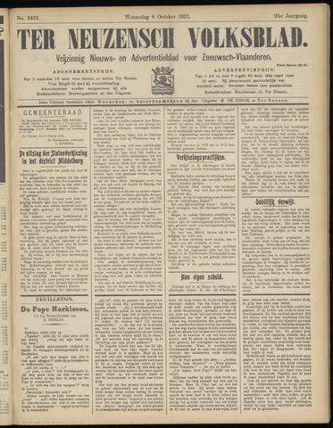 Ter Neuzensch Volksblad. Vrijzinnig nieuws- en advertentieblad voor Zeeuwsch- Vlaanderen / Zeeuwsch Nieuwsblad. Nieuws- en advertentieblad voor Zeeland 1913-10-08