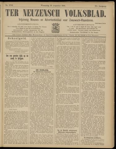 Ter Neuzensch Volksblad. Vrijzinnig nieuws- en advertentieblad voor Zeeuwsch- Vlaanderen / Zeeuwsch Nieuwsblad. Nieuws- en advertentieblad voor Zeeland 1916-08-23