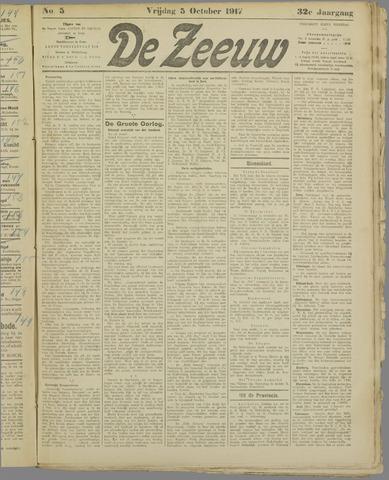 De Zeeuw. Christelijk-historisch nieuwsblad voor Zeeland 1917-10-05