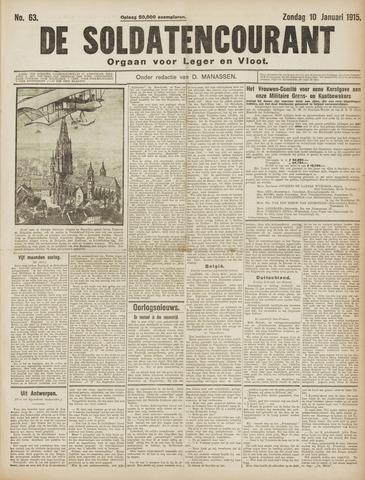 De Soldatencourant. Orgaan voor Leger en Vloot 1915-01-10