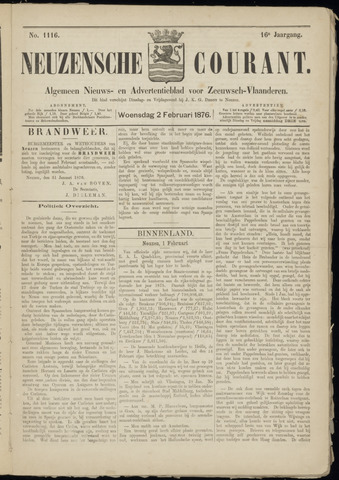 Ter Neuzensche Courant. Algemeen Nieuws- en Advertentieblad voor Zeeuwsch-Vlaanderen / Neuzensche Courant ... (idem) / (Algemeen) nieuws en advertentieblad voor Zeeuwsch-Vlaanderen 1876-02-02