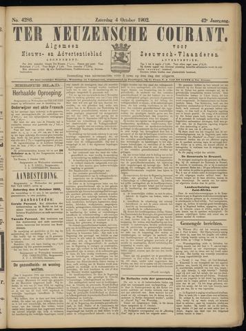 Ter Neuzensche Courant. Algemeen Nieuws- en Advertentieblad voor Zeeuwsch-Vlaanderen / Neuzensche Courant ... (idem) / (Algemeen) nieuws en advertentieblad voor Zeeuwsch-Vlaanderen 1902-10-04