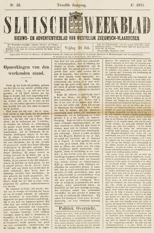 Sluisch Weekblad. Nieuws- en advertentieblad voor Westelijk Zeeuwsch-Vlaanderen 1871-07-21