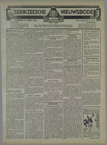 Zierikzeesche Nieuwsbode 1942-04-25