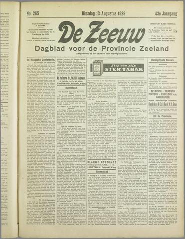De Zeeuw. Christelijk-historisch nieuwsblad voor Zeeland 1929-08-13