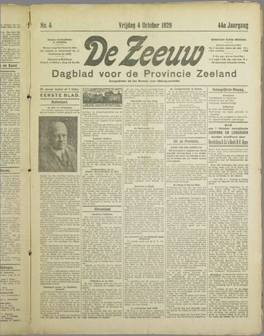 De Zeeuw. Christelijk-historisch nieuwsblad voor Zeeland 1929-10-04